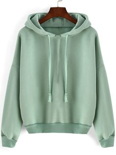 Green Hooded Long Sleeve Loose Crop Sweatshirt - shein.com cute styles, fashion styles