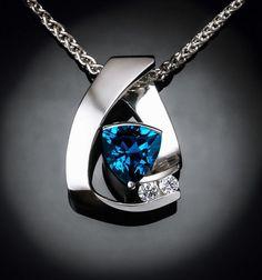 alexandrite necklace - white sapphire - Argentium silver - Chatham alexandrite - June birthstone - contemporary jewelry - 3452