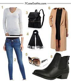 Emma Stone spring outfit,blue jeans, brown sunglassws, white blouse, long coat, black bag, black scarf,black shoes.