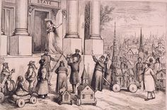 """Woman symbolizing Justice(?) standing at door of building """"State"""", as soldiers block steps to members of different religions. Contributor Names Nast, Thomas, 1840-1902, artist Created / Published 1871."""