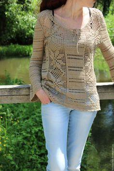Кофты и свитера ручной работы. Ярмарка Мастеров - ручная работа. Купить Туника в стиле этно бохо (лен70% с хлопком). Handmade.
