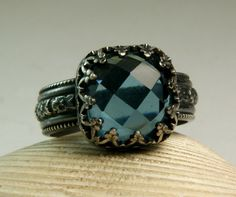Sterling Silver Blue Ice Quartz Ring by TazziesCustomJewelry, $78.00