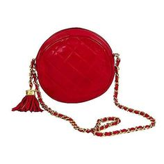 Chanel Pre-Owned: Round Lambskin Red Evening Bag (49.081.645 VND) ❤ liked on Polyvore featuring bags, handbags, red, lambskin handbag, red evening bag, evening hand bags, evening handbags et red quilted handbag