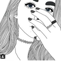 black line drawings Tumblr Outline, Outline Art, Outline Drawings, Cool Drawings, Pencil Drawings, Pencil Art, Tumblr Girl Drawing, Tumblr Art, Tumblr Girls
