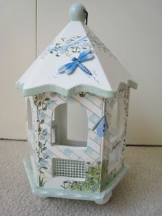 Kathy Hatch Dragonfly Gazebo Collection Bird House Handpainted | eBay