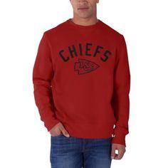 Mens Kansas City Chiefs '47 Brand Red Cross Check Crew Sweatshirt