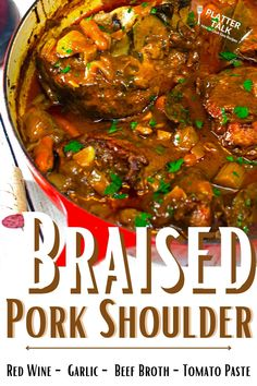 Learn how to make the best pork shoulder with this simple braised recipe from Platter Talk! Dutch Oven Recipes, Pork Recipes, Braised Pork Shoulder, Pork Shoulder Recipes, Platter, Main Dishes, Dinners, Dinner Recipes