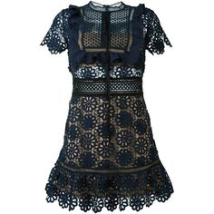 Self Portrait Louisa Lace Mini Dress ($465) ❤ liked on Polyvore featuring dresses, daytime, kirna zabete, lace mini dress, navy lace dress, short navy dress, short lace dress and navy cocktail dress