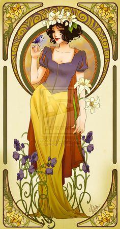 Love these Disney Princess Pictures - Disney Princesses Mucha Style Pin-Up Art — GeekTyrant