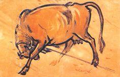 My World: Bengali painter Zainul Abedin /Paintings of Zainul Abedin - Rebel cow, a painting by Abedin Art Painting Gallery, Art Gallery, Bengali Art, Cow Print, Art World, Van Gogh, Moose Art, Abstract Art, Sketches