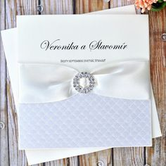 Crystal II handmade wedding invitation