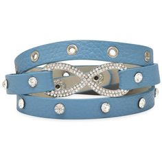 7 - 7.5 Blue Leather Fashion Wrap Bracelet with Silver Tone Crystal... (59 BRL) ❤ liked on Polyvore featuring jewelry, bracelets, crystal bangle, blue jewelry, blue crystal jewelry, silvertone jewelry and leather bangles
