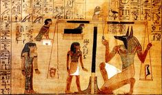"""A section of the Egyptian Book of the Dead written on papyrus showing the """"Weighing of the Heart"""" in the Duat using the feather of Maat as the measure in balance."""