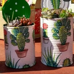 Aluminum Can Crafts, Tin Can Crafts, Metal Crafts, Jar Crafts, Arts And Crafts, Painted Tin Cans, Painted Pots, Recycled Tin Cans, Recycled Crafts