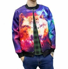3D galaxy wolf bomber jacket for boys plus size clothing