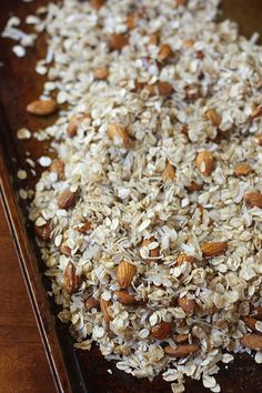 DIY Granola:   2 cups oats 1/4 cup sweetener 1/4 cup coconut oil 1 cup nuts 1-2 cups > nuts, shredded coconut, dried fruit, seeds Pinch of salt 1t flavoring (i.e.vanilla, coconut, or almond extract) 1/4-1/2t spice (i.e. cinnamon, ginger, pumpkin spice)