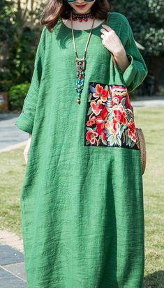 French green cotton linen clothes o neck patchwork Maxi summer Dresses - French green cotton linen clothes o neck patchwork Maxi summer Dresses - Stylish Dress Designs, Stylish Dresses, Simple Dresses, Casual Dresses, Summer Dresses, Abaya Mode, Mode Hijab, Linen Dresses, Cotton Dresses