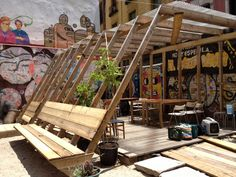 Garden of Wonders Gerät Roof Design, Cafe Design, House Design, Timber Structure, Shade Structure, Urban Furniture, Street Furniture, Ideas Cabaña, Parque Linear