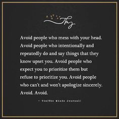 Avoid people who mes
