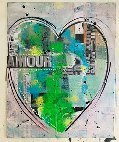 Love Abstract Mixed Media| French Green Collage Artwork | Contemporary Art | Amour Collage on Canvas Board | Wall Artwork | Love Romance Collage Artwork, Paper Artwork, Heart Painting, Love Painting, Pretty Art, Cute Art, Abstract Expressionism, Abstract Art, Original Artwork