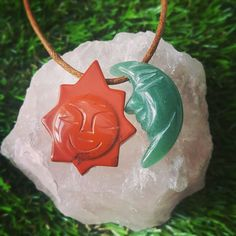 Red Jasper and Green Aventurine Sun and Moon necklace 💟