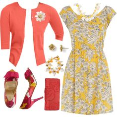 """Emma Pillsbury Sunset Coral & Yellow Night Out"" by lilbailey on Polyvore"
