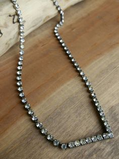 "- 16"" Choker Length - Silver Tone Color - Diamond Rhinestones - Pointed Design - Lobster Claw Clasp - Good Condition - Pre-Owned"