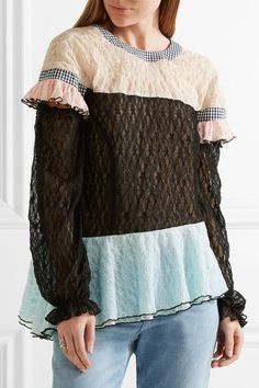 Sandy Liang - Civic Gingham-trimmed Ruffled Lace Top - Black - FR