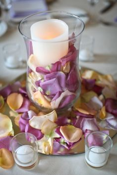 Rose Petal and Candle Centerpieces | Love Blooms | Raiza Vega Photography | TheKnot.com