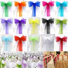 Organza Wider Sashes Bow Wedding Party Banquet Reception Chair Covers Decorative