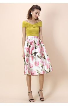 Tulip Admirer A-line Midi Skirt - Retro, Indie and Unique Fashion