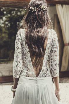 Peinado de novia Pelo suelto con florecitas