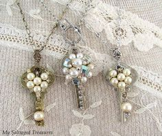 My Salvaged Treasures: Fun with Watch Parts, Keys, and Rhinestones
