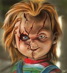 Just a piece i did to practice painting in photoshop Chucky Child's play Horror Movie Tattoos, Horror Movie Characters, Chucky Drawing, Chucky Tattoo, Chucky Movies, Childs Play Chucky, Scary Wallpaper, Horror Drawing, Bride Of Chucky