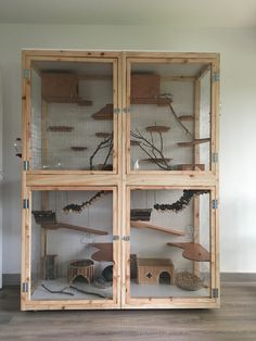 Huge Homemade Wooden Chinchilla Cage - This layout is almost perfect. The only thing I would change is removing the hay balls because they're not safe for chinchillas. Cage Chinchilla, Chinchilla Care, Ferret Cage, Hamster Cages, Diy Chinchilla Toys, Chinchillas, Pet Rats, Pets, Cage Rat