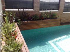 Vista de la jardinera de la piscina
