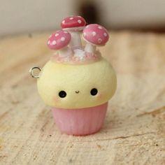 #kawaii #charm #polymer #clay #mushrooms #cupcake