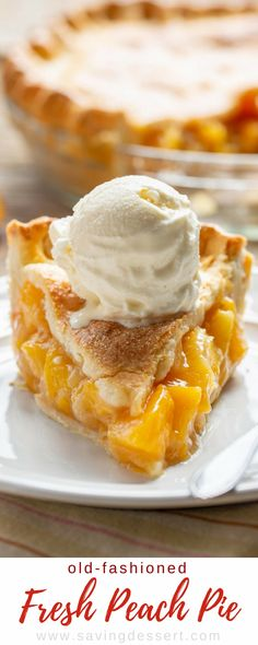Old Fashioned Fresh Peach Pie - made with juicy, ripe peaches and a flaky, buttery pastry crust. Don't forget the ice cream! Old Fashioned Fresh Peach Pie - made with juicy, ripe peaches and a flaky, buttery pastry crust. Don't forget the ice cream! Fresh Peach Pie, Ripe Peach, Easy Peach Pie, Peach Pie Filling, Peach Pie Recipes, Tart Recipes, Cooking Recipes, Pie Dessert, Dessert Recipes