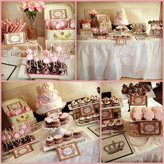 Vintage dessert table gold, pink, lace and pearl.  @Erika Luna  ve la maleta con las cakepops!!! genius!!!