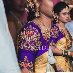 Here is Swetha - all decked up for her sisters wedding in this stunning handworked blouse. Such bright colours are always a great combination with your golden shade sarees.