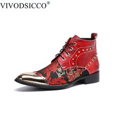 d68f7f4c95c Spring New Mens Red Iron Toe Lace Up Brocken Shoes Metal Embossing Thick  Heels
