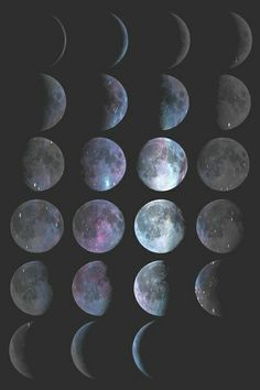 Moon Phases - Lunar Phases - Hipster Moon Phases - iPhone - (C) Andre Gift Shop Sea Wallpaper, Wallpaper Backgrounds, Wiccan Wallpaper, Wallpaper Space, Colorful Wallpaper, Phone Backgrounds, Phone Wallpapers, Desktop, Stars At Night