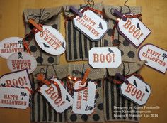 Here are the bags and tags that I made from the September 2014 Paper Pumpkin Kit. Paper Pumpkin comes in the mail once a month in the cutest red box, a present for yourself or a gift! This was one of my favorite kits!  I love Halloween! https://mypaperpumpkin.com/en/?demoid=54345