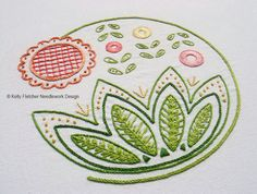 Sweetsong, a Modern Jacobean crewel hand embroidery pattern