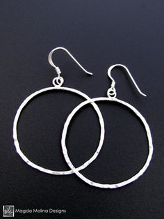 The Delicate Hammered Silver Circle Earrings