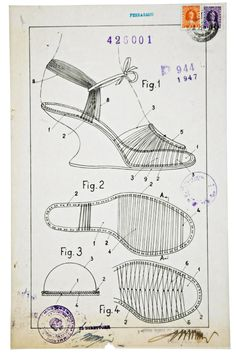 "Salvatore Ferragamo, ""invisible"" sandals and the fitting patent, 1947. ( See 2 beautiful vintage Ferragamo's on my inspiration#2 board)"