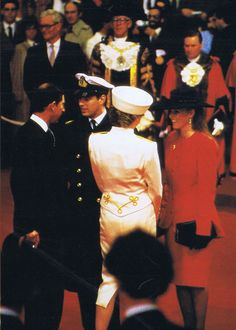 April 10, 1987: Prince Charles and Princess Diana with Prince Andrew and at the Sovereigns Parade at the Royal Military Academy in Sandhurst, Berkshire
