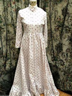 RAREvintage LAURA ASHLEY wales WHITE floral VICTORIANA maxi PRAIRIE DRESS 12 14   eBay