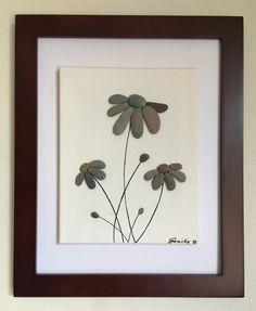 Pebble art flowers floating canvas framed by EmilysNatureEmporium