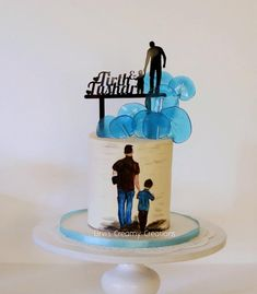 Birthday Cake For Son, Double Birthday Parties, Brithday Cake, Happy Birthday Daddy, Baby Boy 1st Birthday Party, Father Birthday, Happy Birthday Cakes, Anniversary Cake Designs, Cake For Husband